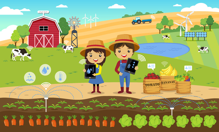 Smart Farming and internet of thing concept, vector illustration Çizim