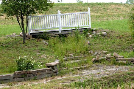 foot bridge: Foot bridge over dry stream bed