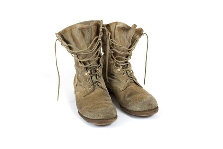 combat boots: American Army desert boots from Desert Storm war on white background Stock Photo