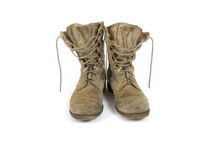 American Army desert boots from Desert Storm war on white background Stock Photo