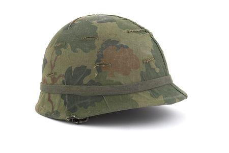 american army: US Army helmet - Vietnam era - on white background