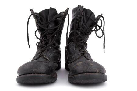 shoestring: Old army boots - Corcoran - on white background