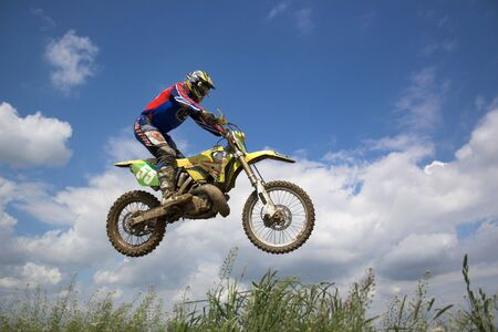 supercross: Motocross rider Stock Photo