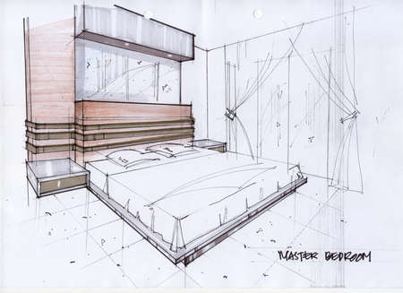 interior drawing: 3D Illustration for a Master Bedroom Illustration