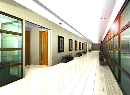 interior drawing: Office Corridor  Illustration