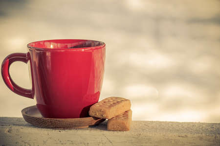 forest tea: Red coffee cup tea cup with classic shortbread butter cookies on a winter background