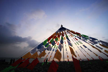 Tibet buddhism flags on the side of Qinghai lake Stock Photo - 7723210