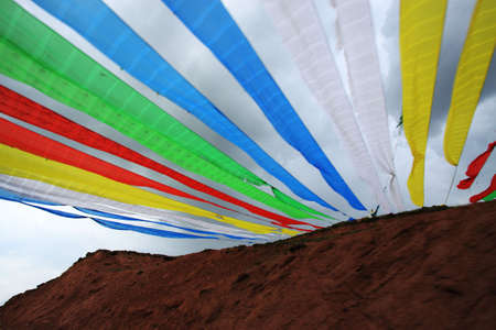 Tibet buddhism flags on the side of Qinghai lake Stock Photo - 7723208