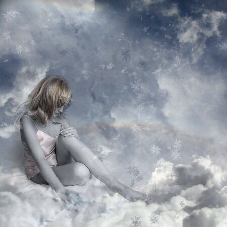 intended: Silence. Girl in an environment of clouds and snowflakes. The image is intended for decorating cards, illustrations, music on cd.