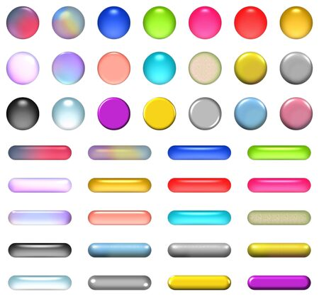 Aqua buttons and glossy buttons in different color Stock Photo - 4021553