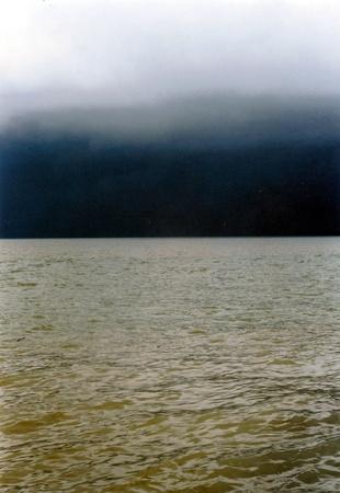 Sea Sky of Penang, Malaysia. Dramatic sea with deep brooding dark blue sky.  Stock Photo
