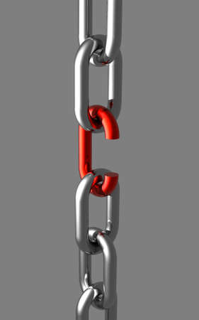 Shiny metal chain broken red link. A shiny silver-metal chain, with a broken red link