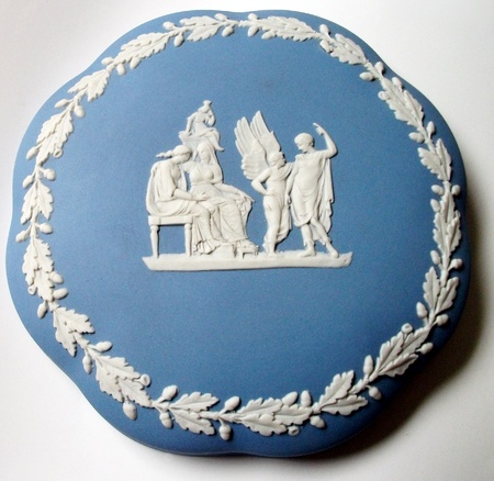 Blue English china, traditional blue English china lid with traditional antique-style pattern in white.