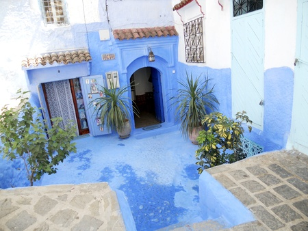 chefchaouen street 8, courtyard in Chefchaouenn, Morocco  North Africa Banco de Imagens - 14860200