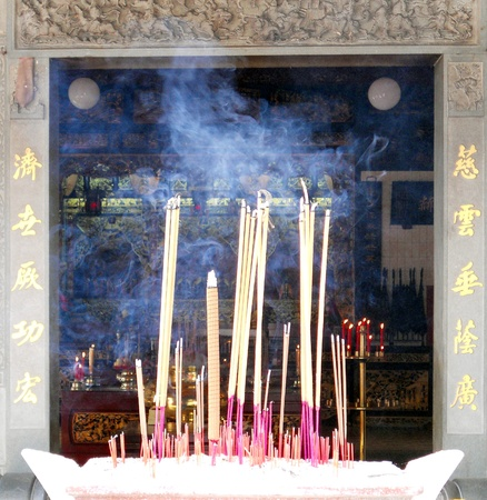 incense sticks: Chinese incence, incense sticks burning in front of a Chinese temple, Penang, Malaysia