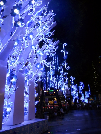 Christmas lights Singapore, blue Christmas lights on Orchard Road, Singapore  2011