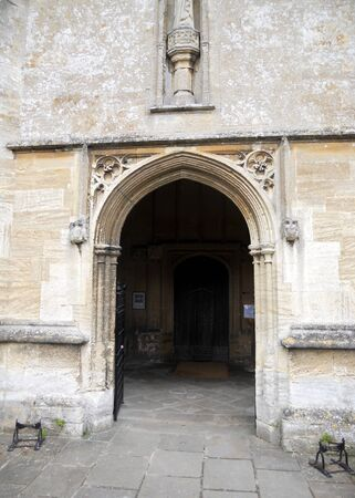 perpendicular: Fairford church entrance, the entrance to the gothic St  Marys 15th Century church, Fairford, Gloucestershire, UK Stock Photo