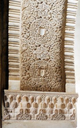 plasterwork: Granada palace plasterwork 4, ornate carved Islamic plasterwork in the Alhambra Palace, Granada, Spain  Europe