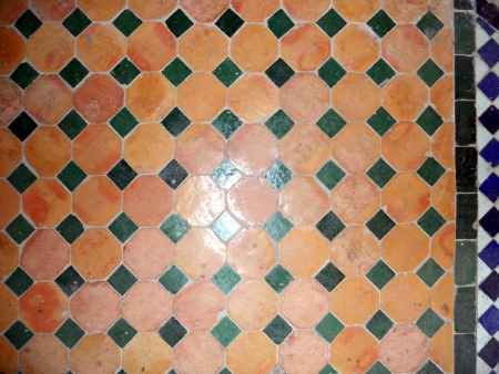 Moroccan tiles, colored floor tiles in a pattern, Morocco photo