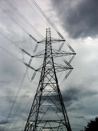 pylon and clouds, electric power pylon in Britain with gray clouds
