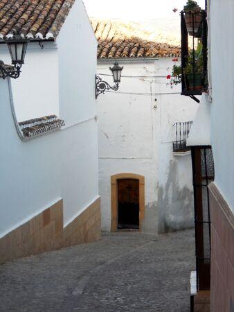 ronda: Ronda sidestreet 2, white houses in a sidestreet of Ronda  Spain  Stock Photo