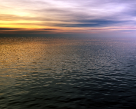 seascape 1, beautiful digital 3D model of a sunset over a gently rippled ocean photo