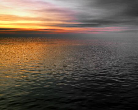 seascape 2, beautiful digital 3D model of a sunset over a gently rippled ocean photo