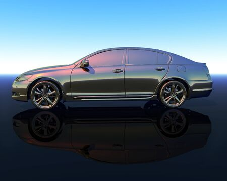 silver car, computer generated 3D model of a side view of a shiny metalic modern car on a shiny surface Stock Photo - 15075396