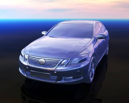 shiny car: silver car 2, computer generated 3D model of a shiny metalic modern car on a shiny surface