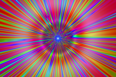 psychedelic tunnel 1, rainbow stripes in psychedelic colors receding Stock Photo