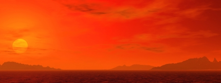 desert sunset 1, a digitally created image of a glorious red desert sunset Stock Photo