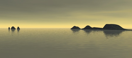 long sky 2, a digitally created image of a serene ocean with distant islands