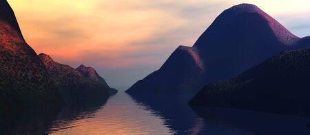 mountains 1, a digitally created image of rounded mountains and a gentle sunset over a calm ocean photo