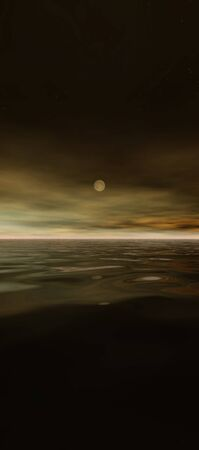 tall sky 3b, digital seascape sunset, a sunset reflected in calm ocean waves