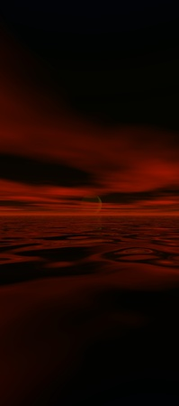 tall sky 8, digital seascape sunset, red clouds reflected in gentle ocean waves photo