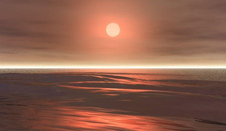 waves 8, 3D model  a glorious sunset over ocean waters  photo