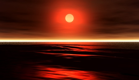 waves 8b, 3D model  a glorious red sunset over dark ocean waters  photo