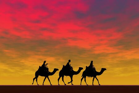 3 kings sunset 2, Christmas card image of the 3 kings on camels, silhouetted against a dramatic sunset
