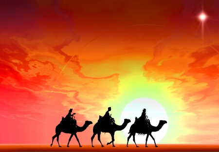 3 kings sunset 3b with star, Christmas card image of the 3 kings on camels following the star, silhouetted against a dramatic sunset Stock Photo