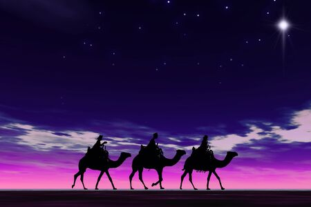 Christmas card image of the 3 kings on camels following the star, silhouetted against a dramatic night sky