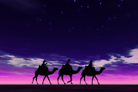 Christmas card image of the 3 kings on camels, silhouetted against a dramatic night sky