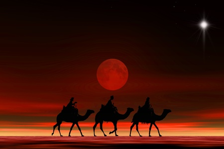 3 kings sunset 5b with star, Christmas card image of the 3 kings on camels following the star, silhouetted against a dramatic sunset Stock Photo