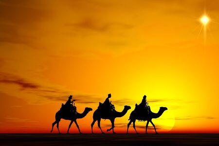 Christmas card image of the 3 kings on camels following the star, silhouetted against a dramatic sunset