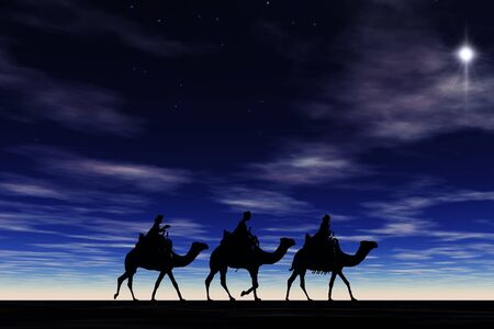 3 kings sunset 8 with star, Christmas card image of the 3 kings on camels following the star, silhouetted against a dramatic sunset
