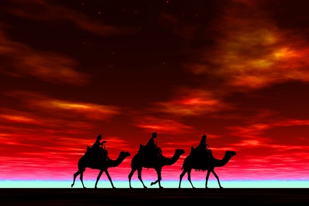 3 kings sunset 8b, Christmas card image of the 3 kings on camels, silhouetted against a dramatic red sunset