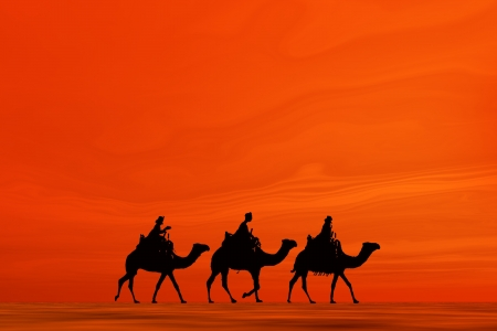 3 kings sunset 7, Christmas card image of the 3 kings on camels, silhouetted against an orange desert sunset Stock Photo