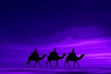 3 kings sunset 7b, Christmas card image of the 3 kings on camels, silhouetted against a purple sunset