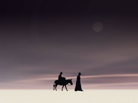 Christmas Mary and Joseph 4,Christmas card image of Mary and Joseph silhouetted against a moonlit sky Stock Photo