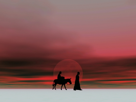 Christmas Mary and Joesph 5c, Christmas card image of Mary and Joseph silhouetted against a moonlit sky Stock Photo