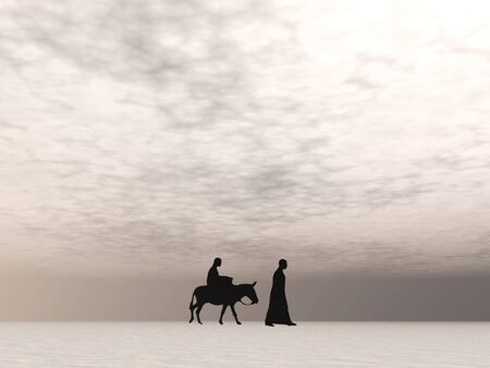 Christmas Mary and Joseph 7, Christmas card image of Mary and Joseph silhouetted against a pale sky with misty horizon